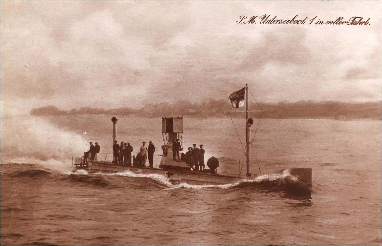 U 1, 1906 - 42.2m, 283 t, 2x 200 hp, 10.8 nos sup, 8,7 nos sub, trip: 12; Tubes torp: 1 para 3 torpedoes