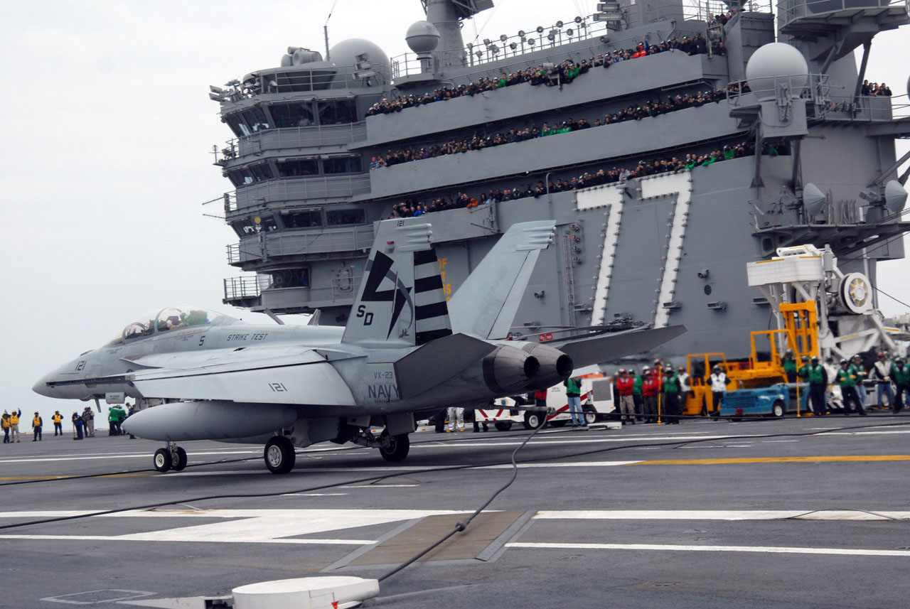 The first arrested landing aboard the aircraft carrier USS George H.W. Bush (CVN 77). George H.W. Bush