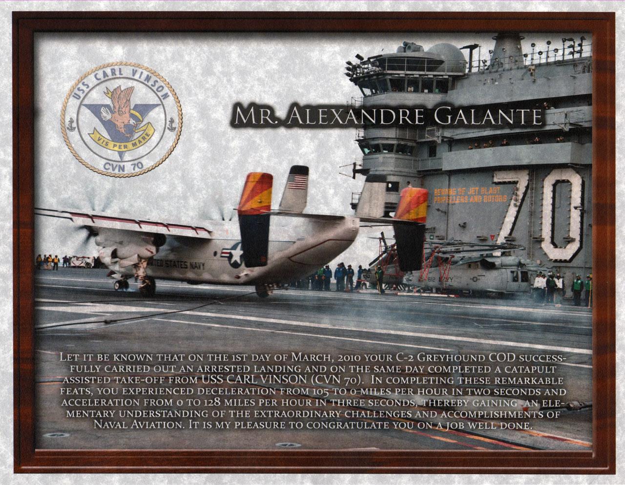 Diploma do nosso pouso a bordo do porta-aviões USS Carl Vinson, seguido por decolagem auxiliada por catapulta