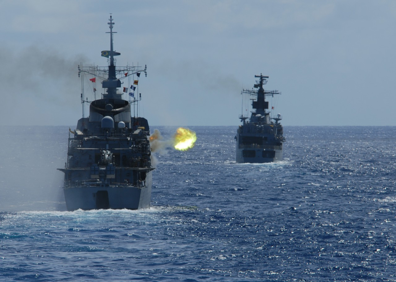 ATLANTIC OCEAN (April 22, 2011) The Brazilian Navy frigate Niterói (F 40) fires at an unmanned aerial vehicle during a drone exercise (DRONEX) with ships from the U.S. and Mexico during the Atlantic phase of UNITAS 52. (U.S. Navy photo by Mass Communication Specialist 1st Class Steve Smith/Released)