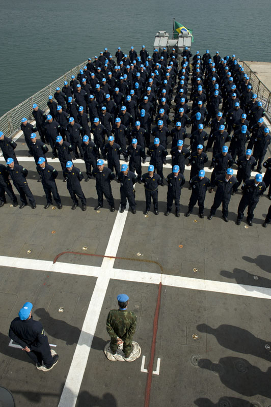Brazilian peacekeepers on board of the frigate Uniao which recently joined UNIFIL MTF as its flagship