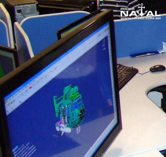 Projeto em tela na Helibras de integração de AM-39 Exocet ao EC725 mostrado na inauguração da nova fábrica - foto Nunão - Poder Naval