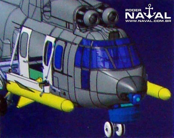 Ilustração do EC725 com AM39 em painel na inauguração da Helibras em 2-10-2012 - foto Nunão - Poder Naval