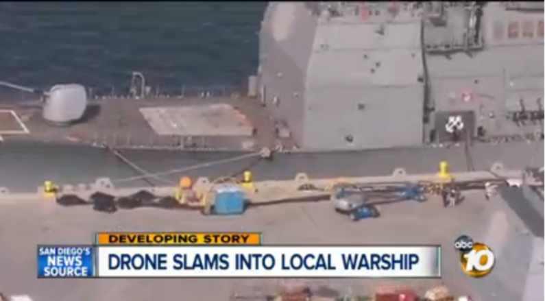 video - drone acerta cruzador classe Ticonderoga