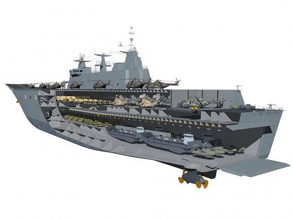 Classe Canberra em corte - imagem Marinha Australiana