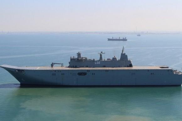 NUSHIP Canberra inicia provas de mar - foto Marinha Australiana