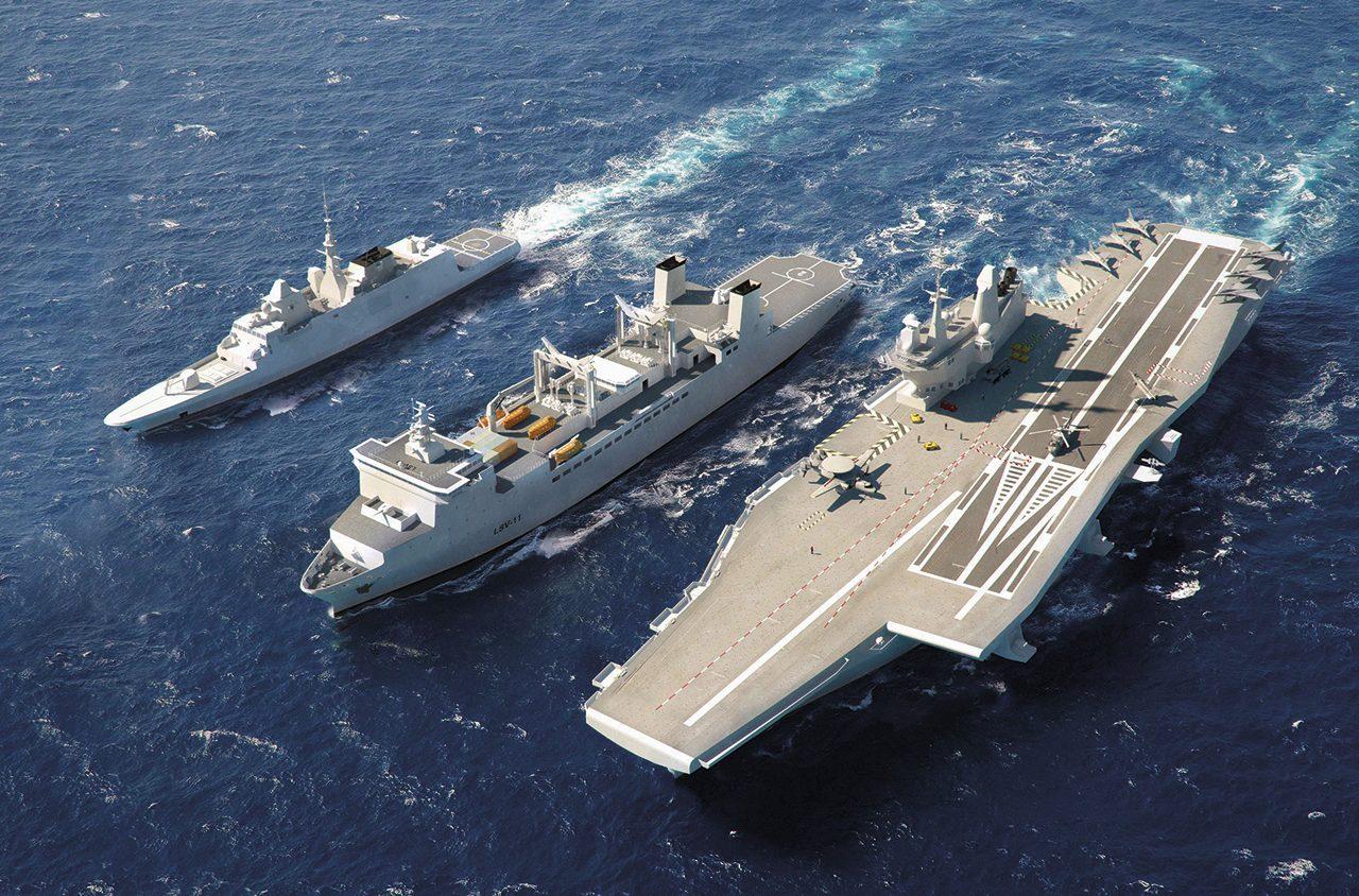 Concepção feita pela DCNS (atual Naval Group) para o futuro navio-aeródromo brasileiro