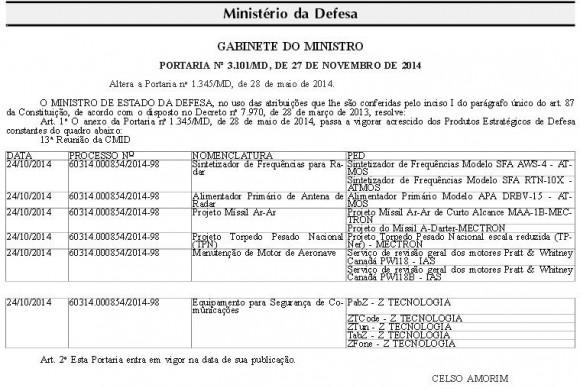 Portaria de 27-11-2014 publicada DOU 28-11 com Torpedo Pesado Nacional - Prod Estrat Defesa