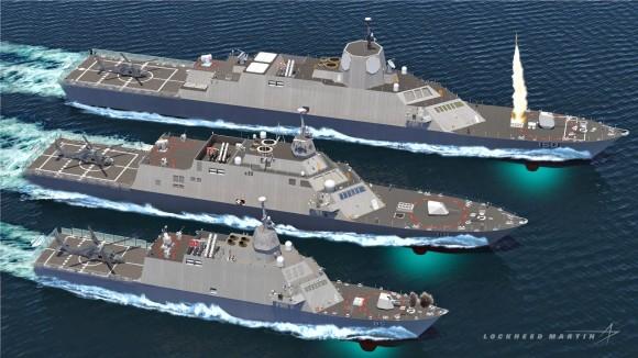 Diferentes versões do Littoral Combat Ship para exportação, a de maior porte aparece com radares SPY-1F
