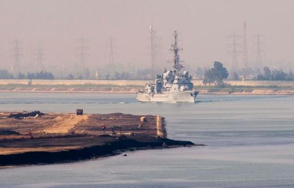 Arromanches - fragata antissub Jean de Vienne em Suez - foto Min Def França