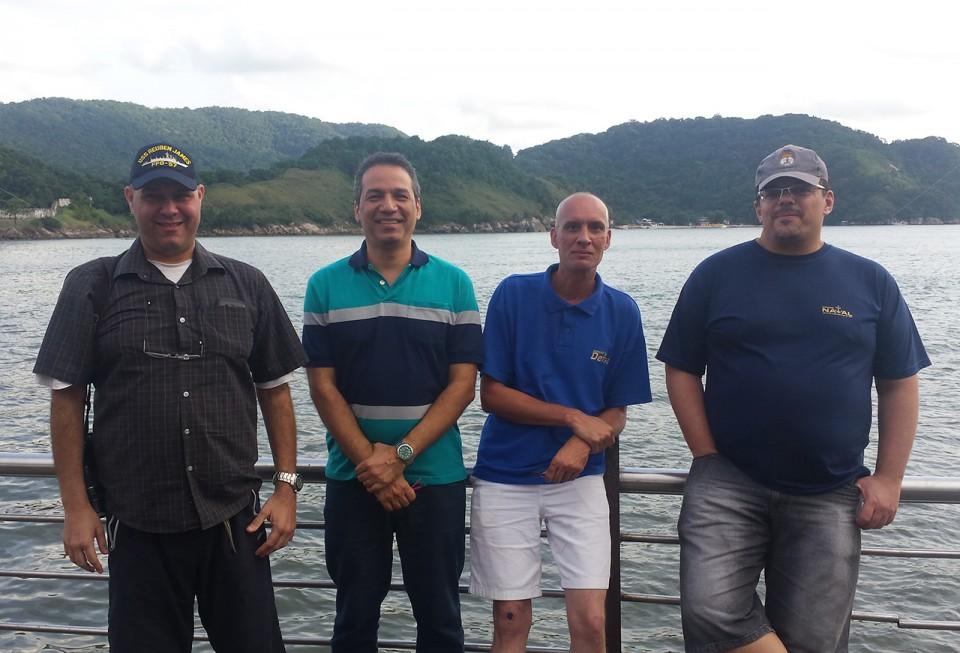 Fundadores do Poder Naval reunidos em Santos Marcelo Ostra Lopes, Alexandre Galante, Paulo Osso Ribeiro e José Petrovich da Silva