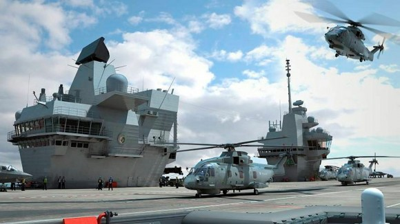 classe Queen Elizabeth com helicóptero Merlin - foto via MD UK