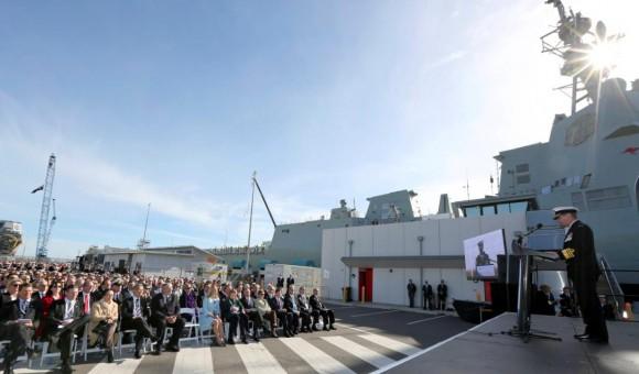 lançamento Hobart - discurso comandante da RAN - foto Marinha Australiana