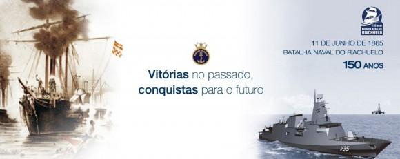 Banner Riachuelo 150 anos com Corveta Tamandaré - V35 - ilustração Marinha do Brasil