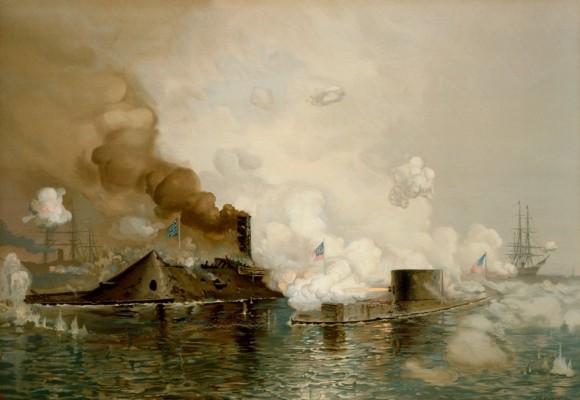 Combate de Hampton Roads - tela de J O Davidson