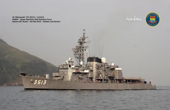 reprodução de foto do destroier Shimayuki entregue ao seu imediato em 7-8-2015