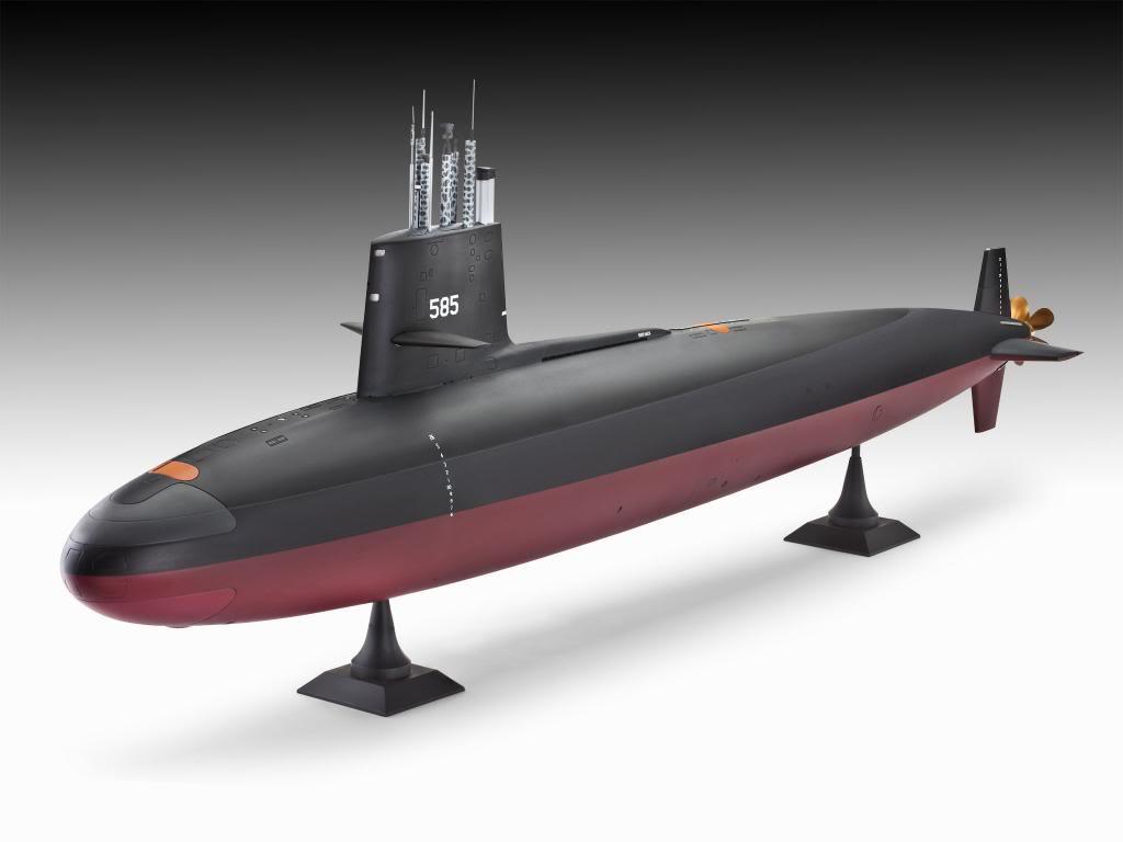 Modelo do submarino Skipjack, mostrando o revolucionário casco em forma de gota de lágrima