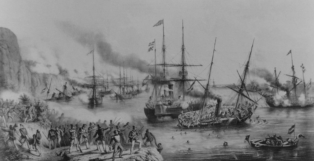 Batalha Naval do Riachuelo - gravura de Carlos Linde de 1865 exposta no Itau Cultural - SP