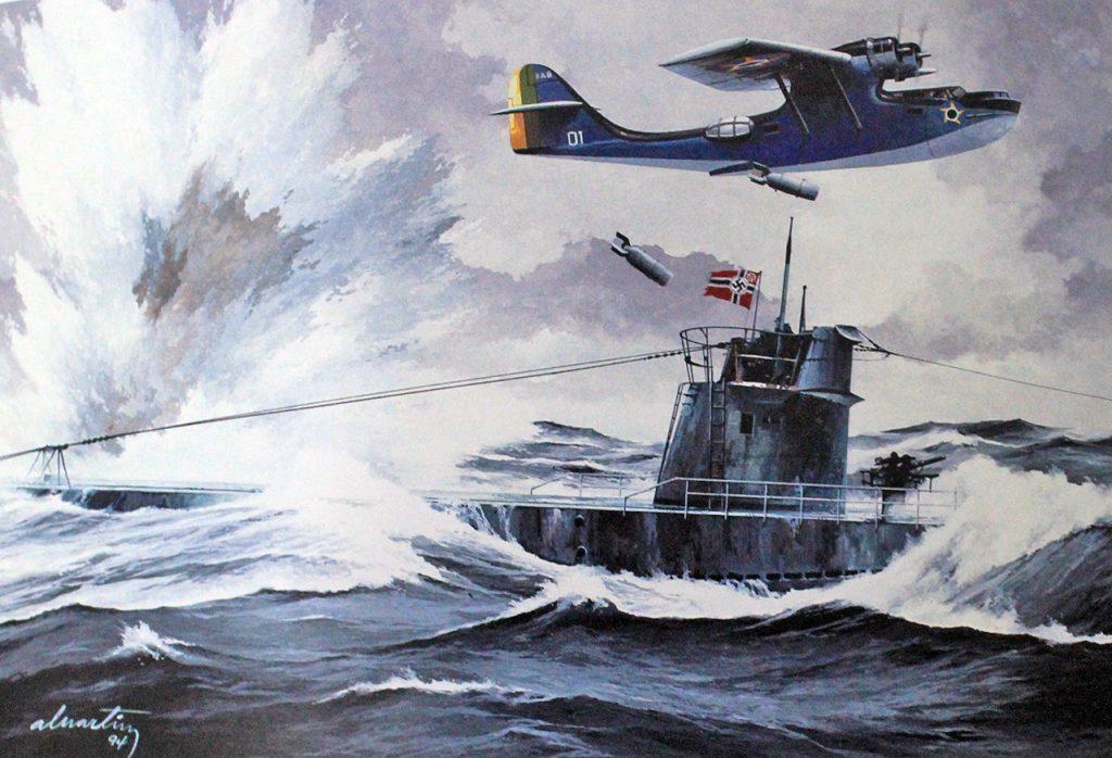 Arará-atacando-o-U-199-ao-largo-do-Rio-de-Janeiro-Reprodução-pintura-de-Álvaro-Martins