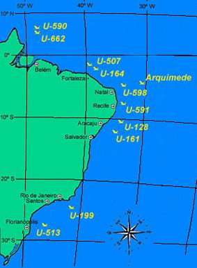 Submarinos afundados na Costa Brasileira durante a II Guerra Mundial