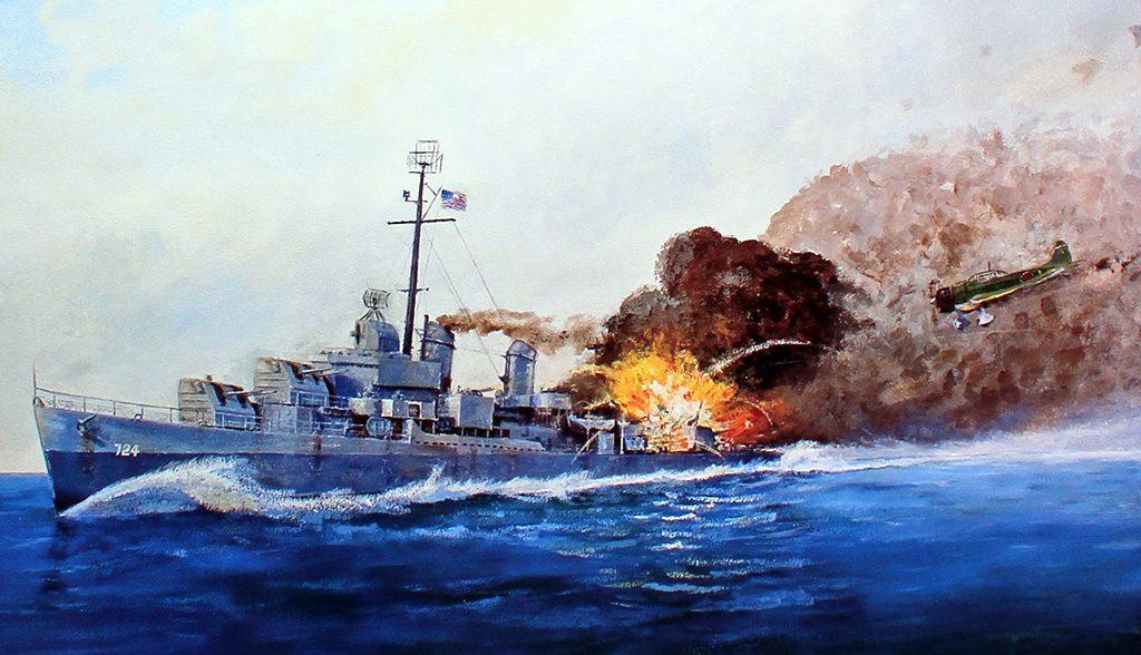 Pintura retratando o USS Laffey sob ataque dos kamikazes