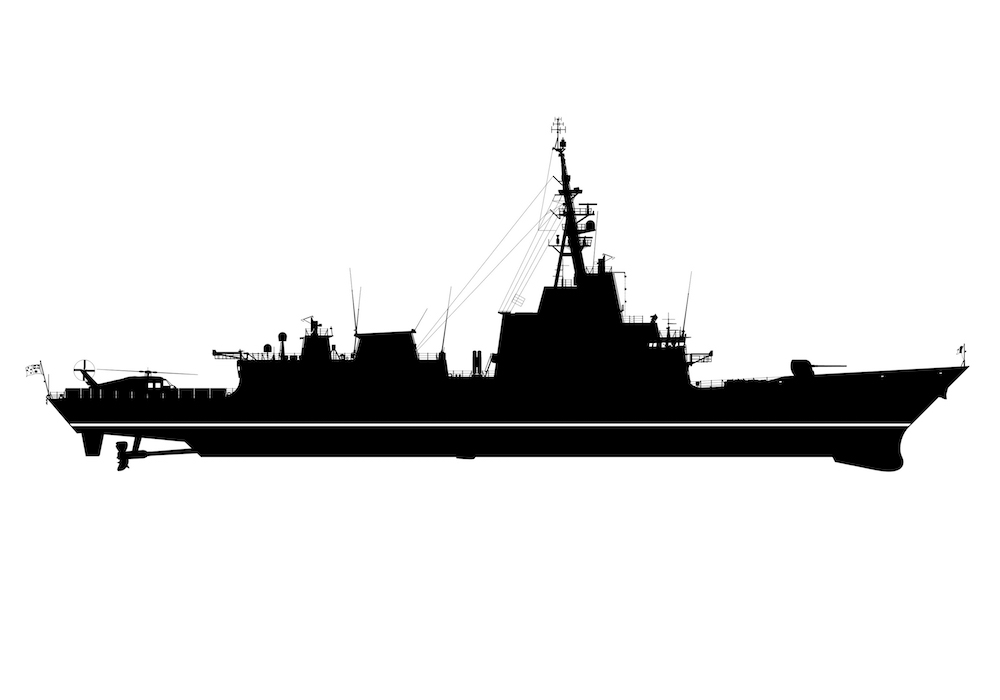 Line drawing / silhouette of Air Warfare Destroyer (AWD).