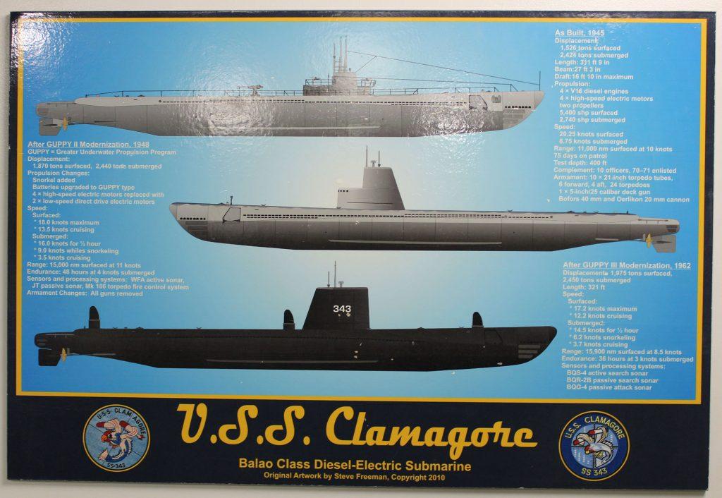 As formas que o USS Clamagore assumiu ao longo de sua vida operacional