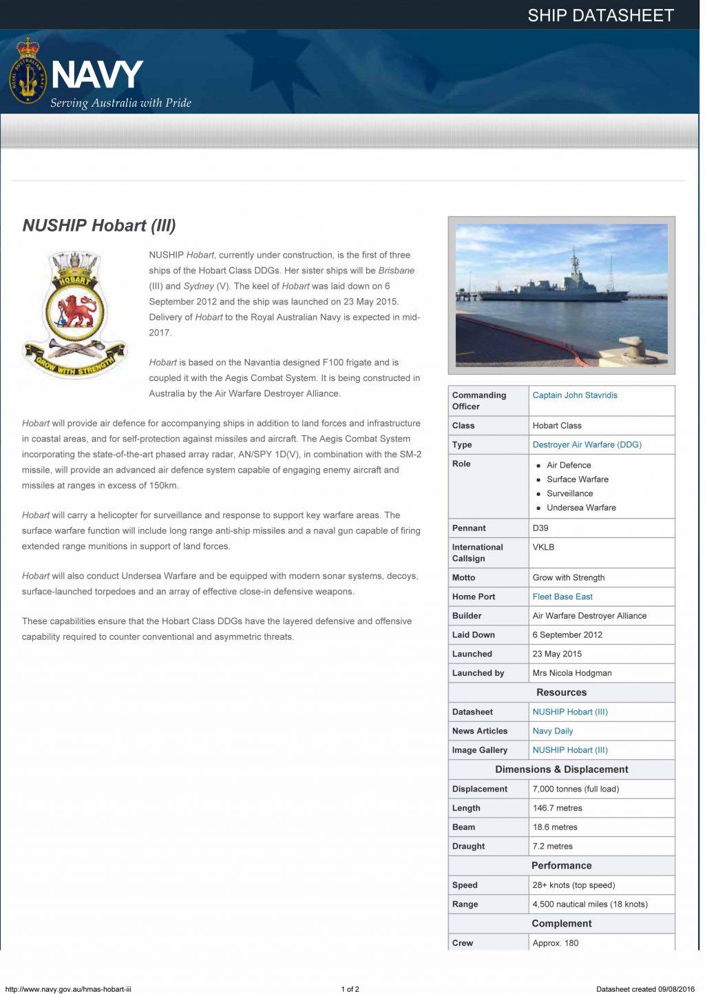NUSHIP Hobart (III) | Royal Australian Navy