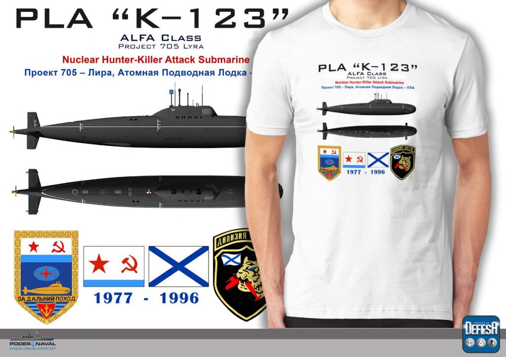 Camiseta do submarino classe Alfa  – www.defesastore.com.br