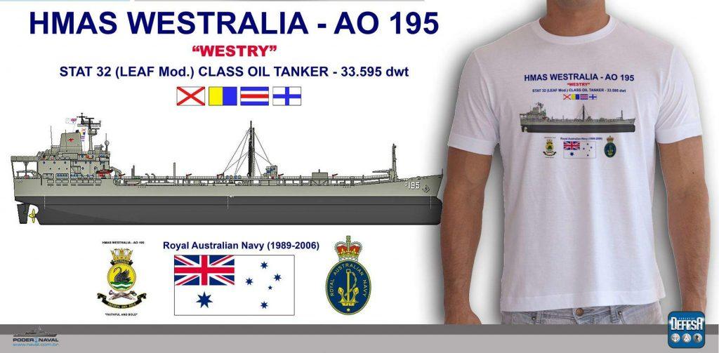 Camiseta do navio-tanque HMAS Westralia – www.defesastore.com.br