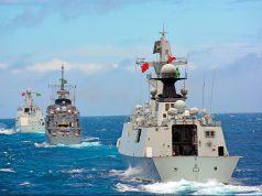 Uma Type 054 no fim da formatura durante a Passex com a Marinha do Brasil em 2013 – Foto: Alexandre Galante