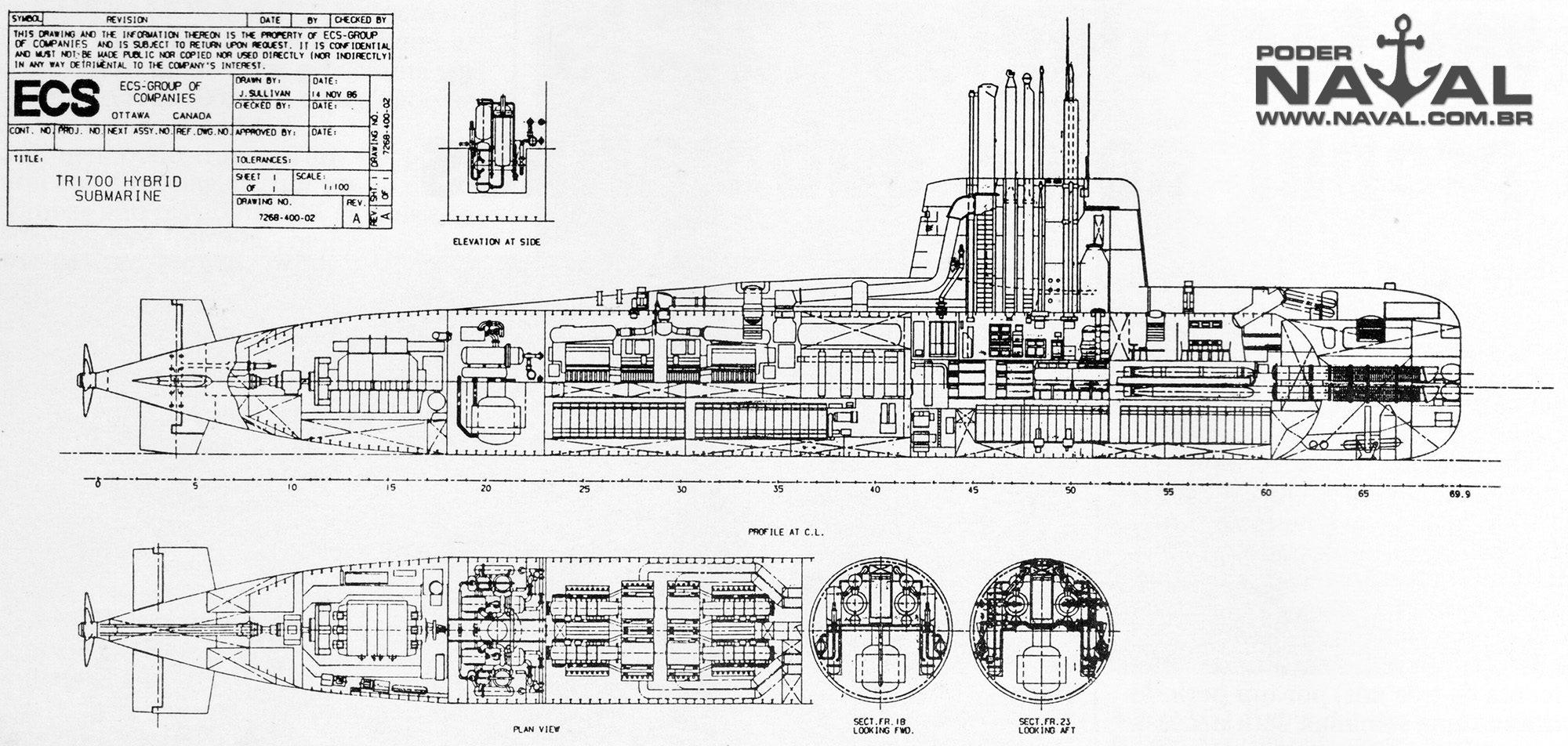 Planos do submarino TR-1700 com o plug de propulsão híbrida AMPS (N)