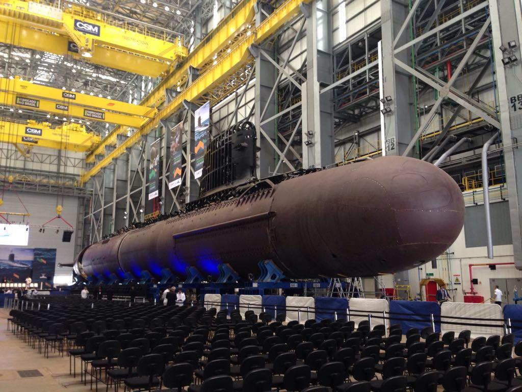 Submarino Riachuelo fotografado na cerimônia de início da integração dos Submarinos da classe S-BR