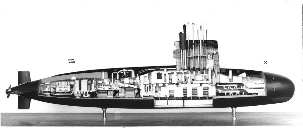 Maquete em corte do submarino classe classe Zwaardvis