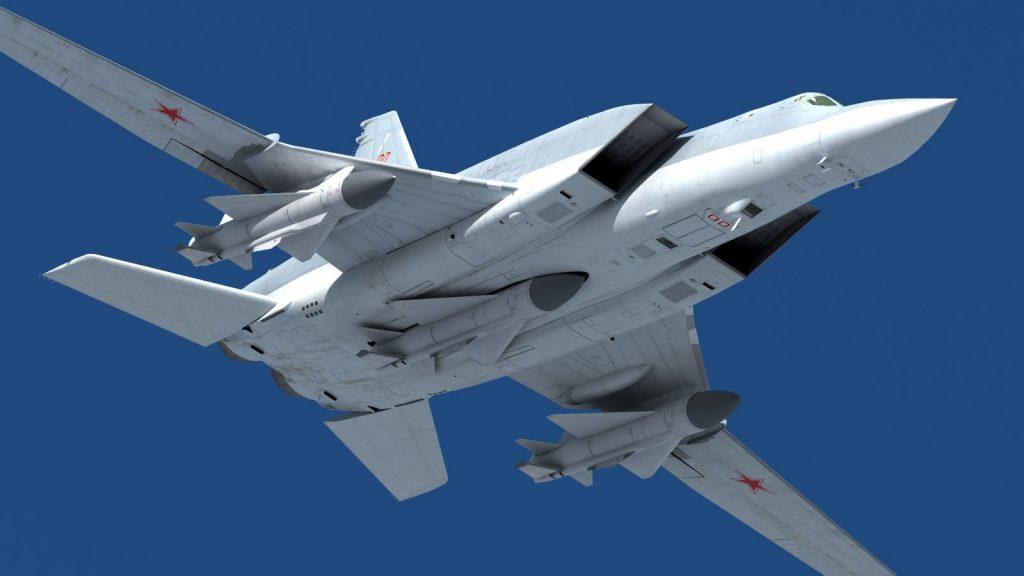 Tu-22M Backfire com três mísseis Kh-22