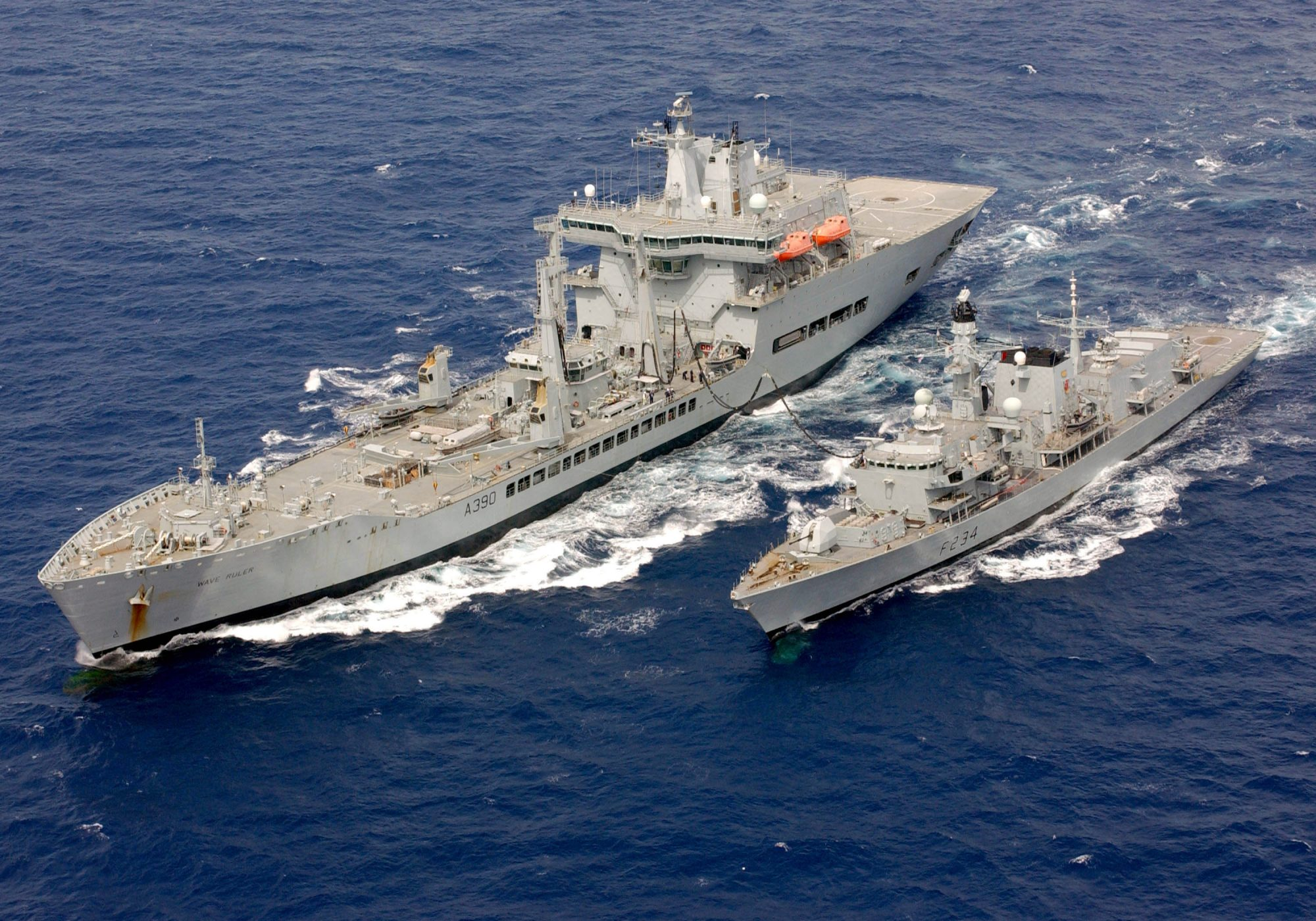 RFA Wave Ruler reabastecendo a fragata Type 23 HMS Iron Duke