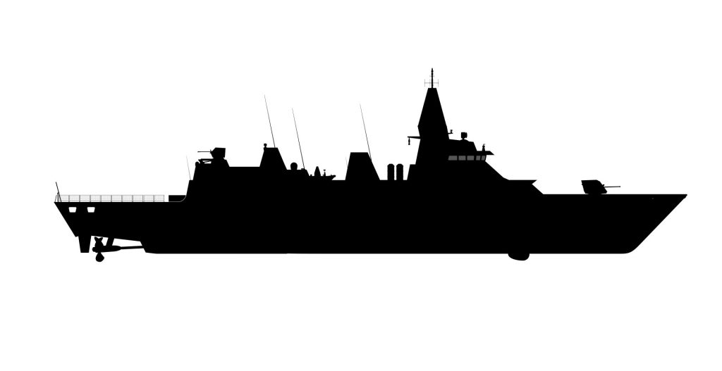 Silhueta da corveta modificada para a Marinha do Brasil