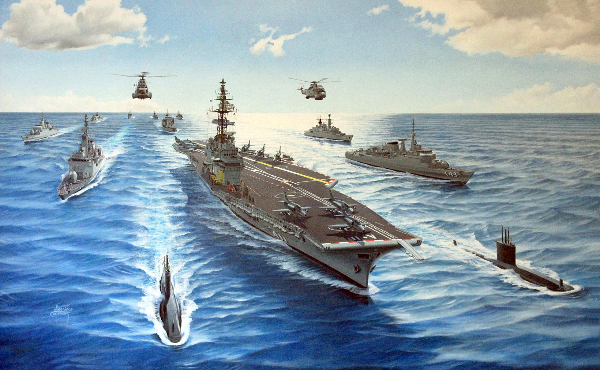 Pintura retratando a Esquadra Brasileira no início dos anos 2000, com o NAeL Minas Gerais equipado com caças AF-1 (A-4 Skyhawk) comprados do Kuwait em 1998