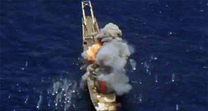 Ex-USS Racine é atingido durante o RIMPAC 2018