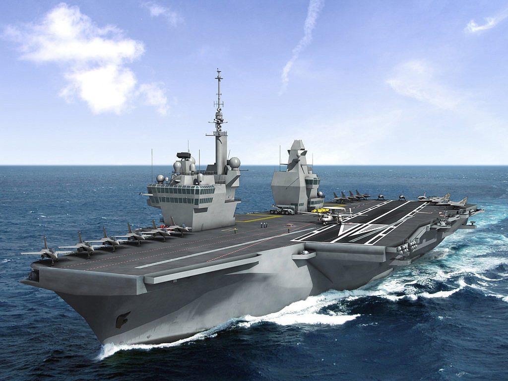 Concepção do PA2 proposto para a Marine Nationale francesa. A Marinha do Brasil planeja construir um navio-aeródromo com configuração semelhante