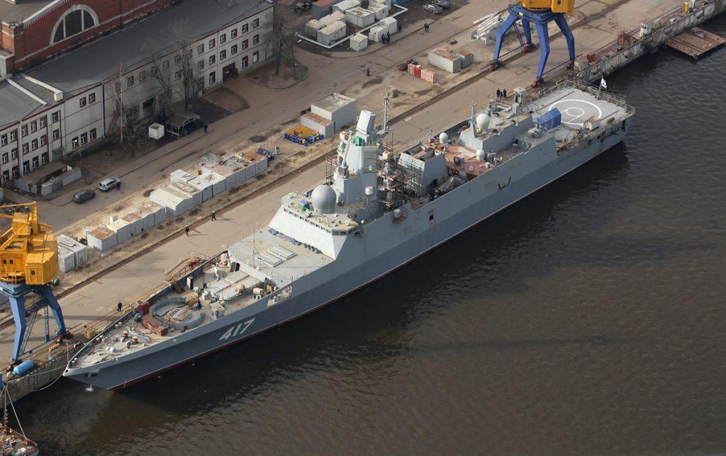 Vista aérea da Almirante Gorshkov quando estava em término de construção
