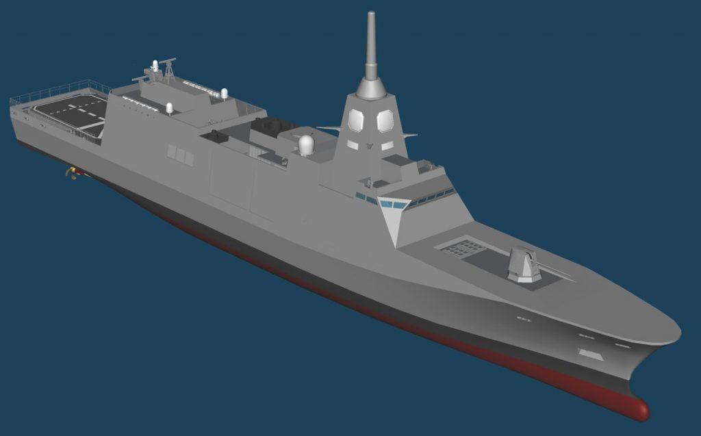 Concepção em 3D do futuro combatente de superfície japonês 30DX