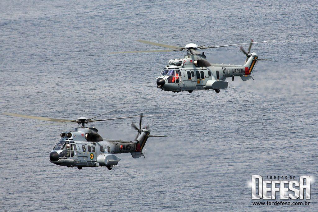 UH-14 Super Puma e UH-15 Super Cougar da Marinha do Brasil