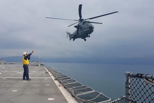 Helicóptero H-36 da FAB operando com o NDM Bahia