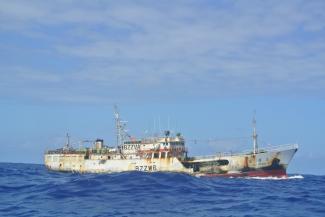 Imagem da embarcação chinesa que tentou afundar barco brasileiro. Foto: WCPFC/Divulgação
