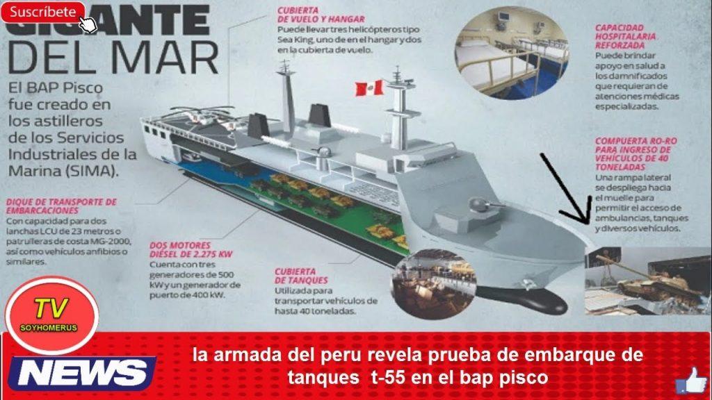 Folheto do BAP Pisco mostra um T-55 saindo do navio