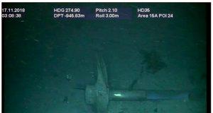 Imagem mostra hélice e parte do eixo propulsor do submarino ARA San Juan encontrado no fundo do Oceano Atlântico — Foto Marinha Argentina