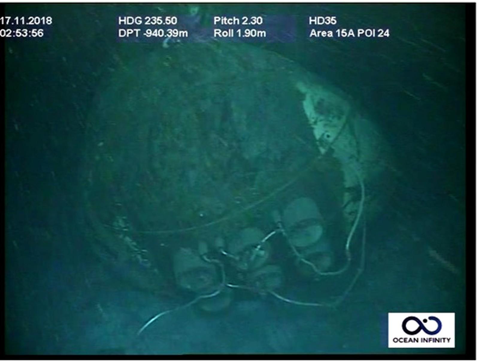 Imagem mostra proa e tubos de torpedo do submarino argentino ARA San Juan — Foto Marinha Argentina