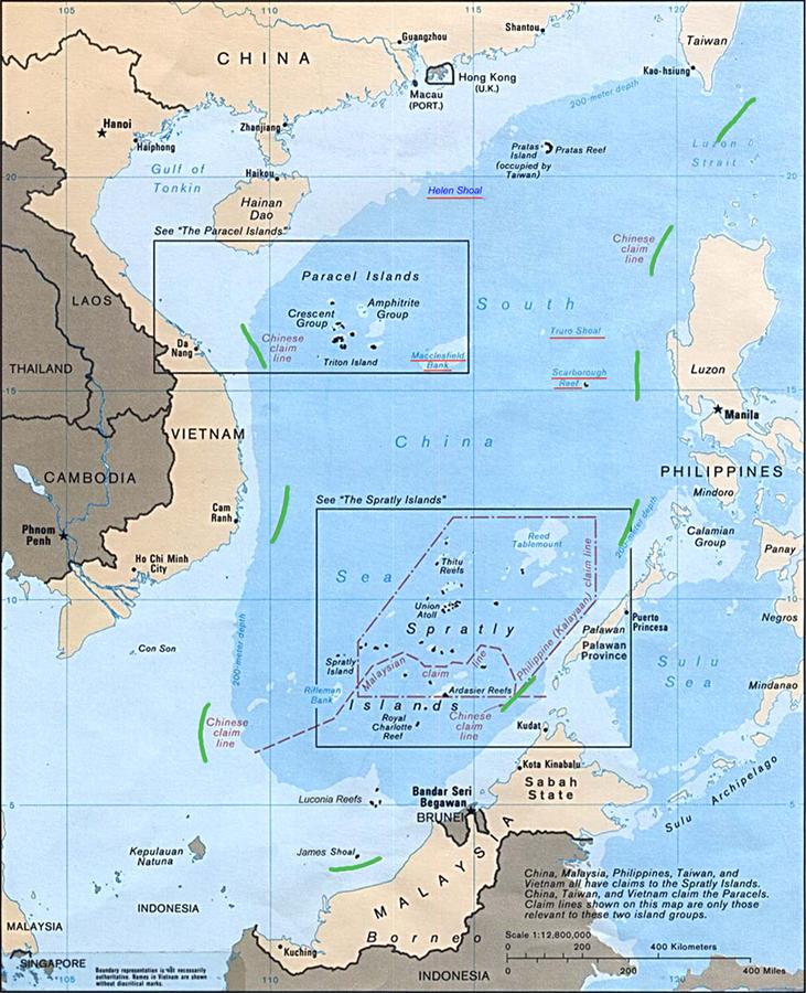 """A """"linha de nove traços"""" que descreve as reivindicações chinesas no mar do sul da China"""