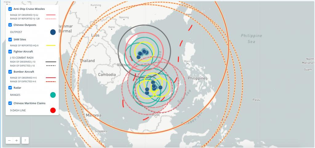Aviões, mísseis e radar chineses abrangem o Mar do Sul da China, via CSIS. Clique para ampliar